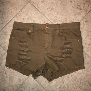 Olive Green Distressed Shorts